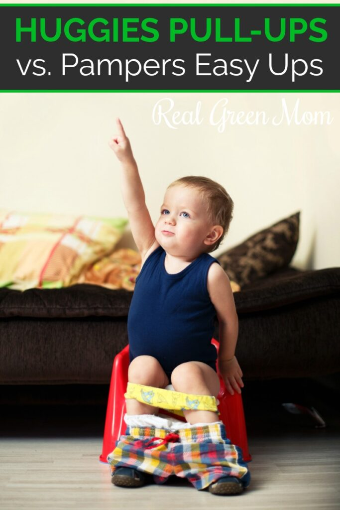 Little boy wearing blue tank top sitting on red potty chair wearing pull-ups