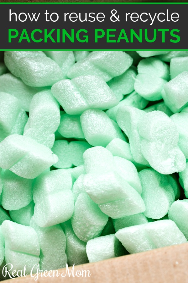 Box of green Styrofoam packing peanuts