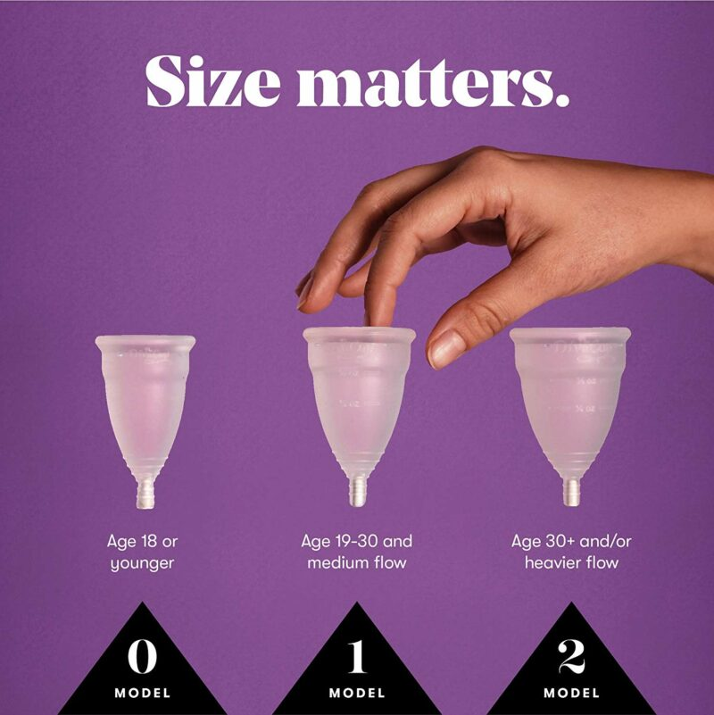 Three sizes of Diva Cups compared side by side to show the difference