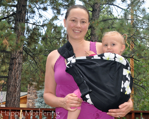 Chrystal wearing Kaylee in the Balboa Baby adjustable sling