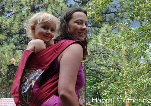 Chrystal wearing Kaylee in a Catbird Baby Mei Tai Carrier