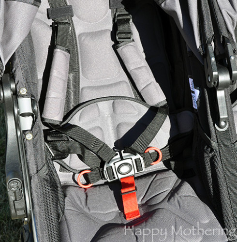 5 point harness to keep kid in their seat while you're jogging with the stroller