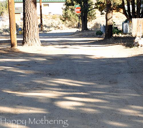 Dirt road in Big Bear City, CA
