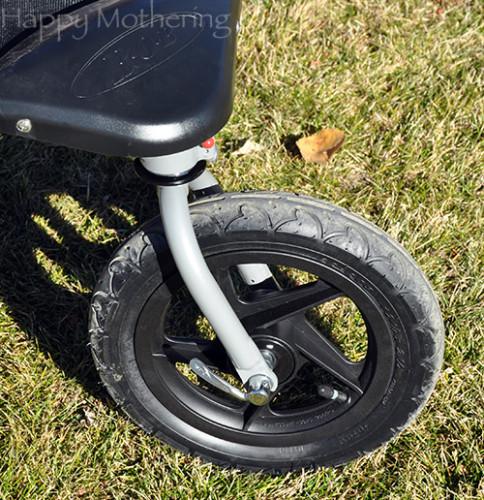 Front wheel of the BOB Revolution Duallie Jogging Stroller