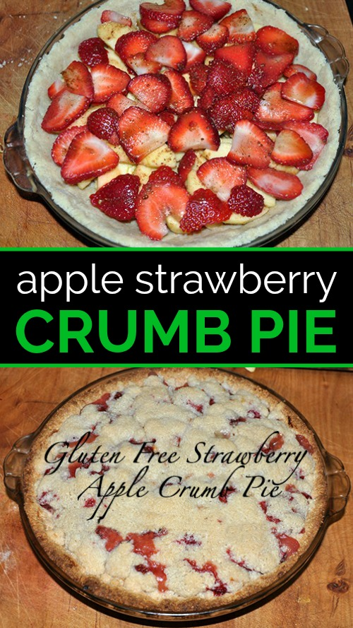 Pie pan with crust, raw apples and strawberries on the cutting board above fully baked strawberry apple crumble pie on cutting board