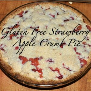 Close up of strawberry apple pie with crumble topping