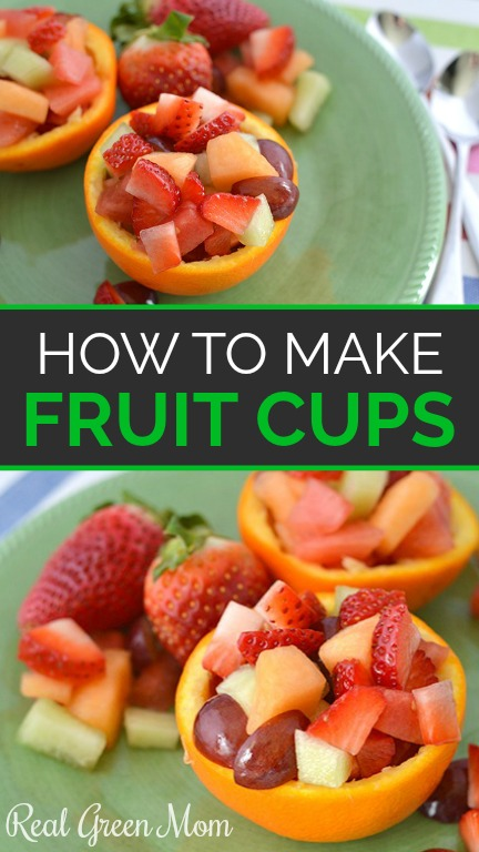 Fresh fruit cups made with mixed fruit and served on green plates