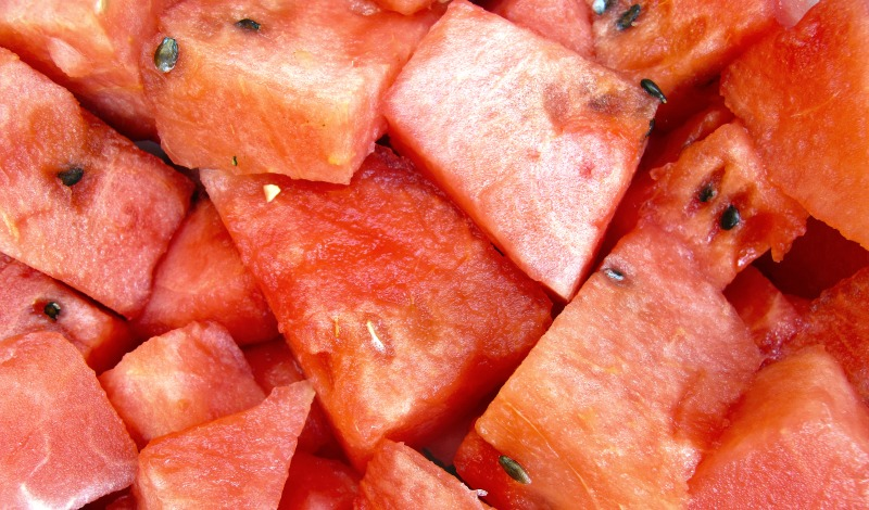 Close up image of chopped of watermelon