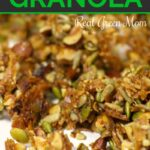 Close up of homemade grain free granola ready to eat
