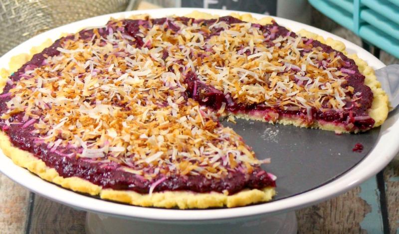 Close up of homemade gluten free cherry crisp on a serving platter