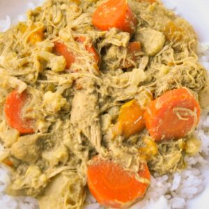 Close up of chicken and carrot curry made in a slow cooker served over rice