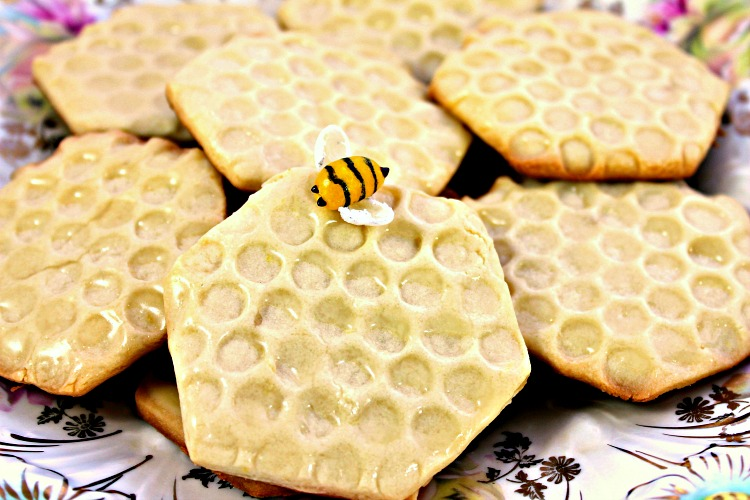 Plate of honeycomb shaped shortbread cookies