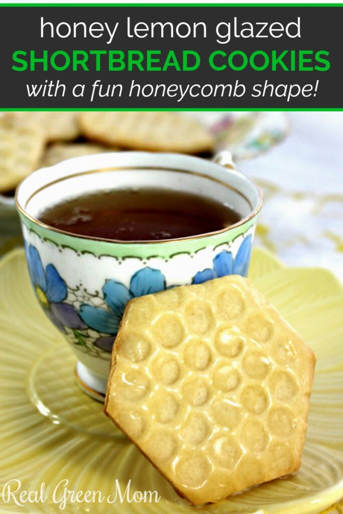 Lemon glazed honeycomb cookie with tea on a yellow plate