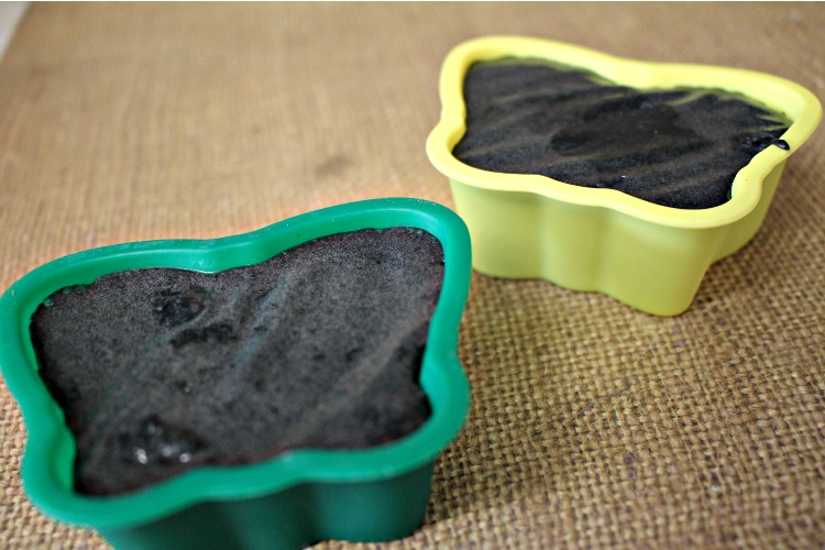 Liquid activated charcoal soap mixture in two butterfly shaped silicone molds