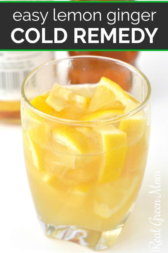 Side view of glass of homemade lemon ginger tonic