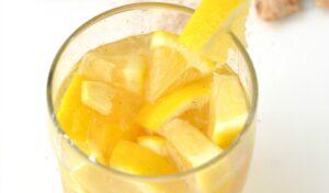 Close up of glass of Lemon Ginger Tonic