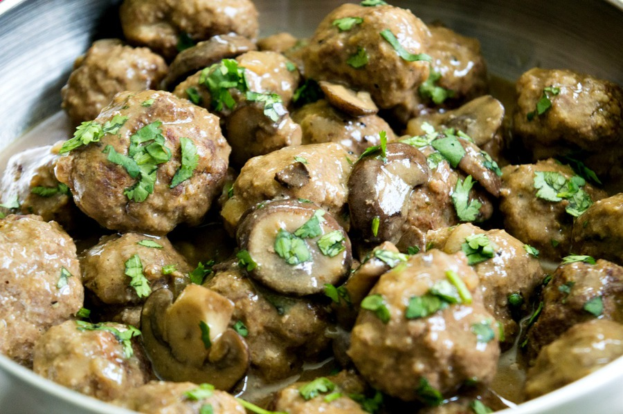 Salisbury meatballs in a pan cooking