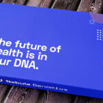 """Blue Nebula Genomics whole genome sequencing kit that reads, """"the future of health is in your DNA."""""""